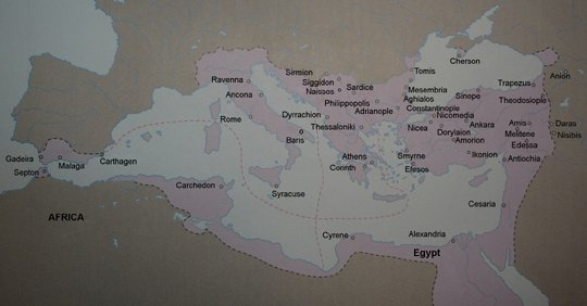 Byzantine map at the age of Justinian